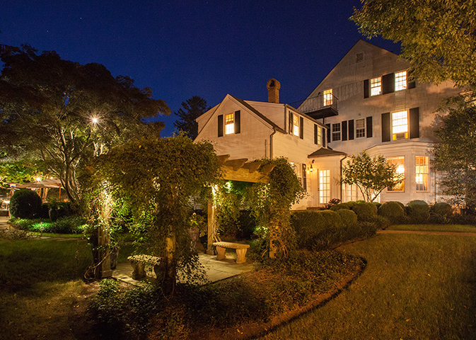 1770 House Exterior, nighttime